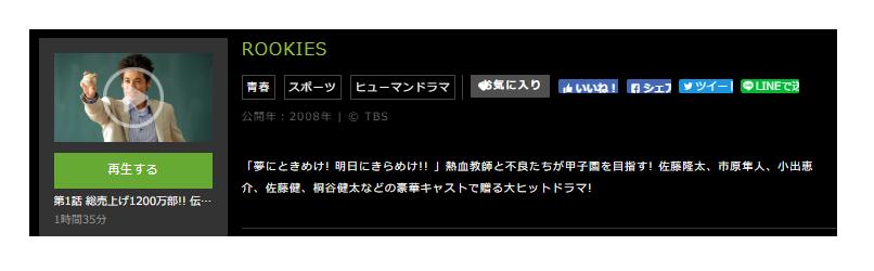 「ROOKIES(ルーキーズ)」のドラマ動画(1話~11話<最終回>)