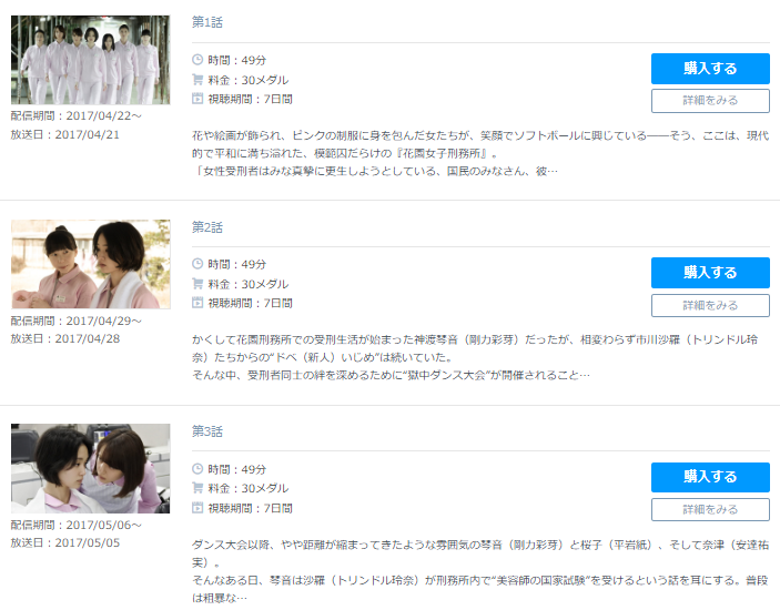 「女囚セブン」のドラマ動画(1話~8話<最終回>)